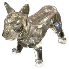 Figural Boston Terrier Glass Covered Candy Dish c.1929