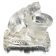 Antique Belmont Glass Pug Dog with Top Hat Toothpick Holder c.1885