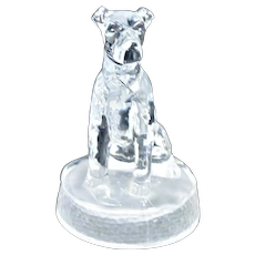 Antique Pressed Glass Dog Paperweight c. early 1900's