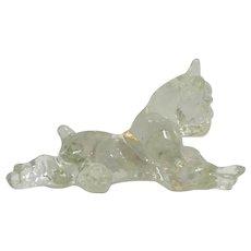 Vintage Glass Reclining Boxer Dog Kenneth R. Haley