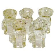 "5 Federal Glass ""Mopey Dog"" Candy Containers #2565 c. 1940's"
