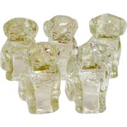 """5 Federal Glass """"Mopey Dog"""" Candy Containers #2565 c. 1940's"""