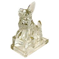 Vintage Cambridge Clear Crystal Scottish Terrier Dog Bookend c.1940-1955