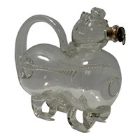 "Vintage Clear Glass ""Fyllehund"" Figural Dog Creamer or Decanter"