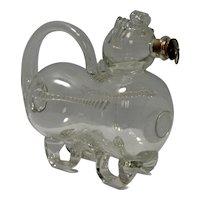 """Vintage Clear Glass """"Fyllehund"""" Figural Dog Creamer or Decanter"""