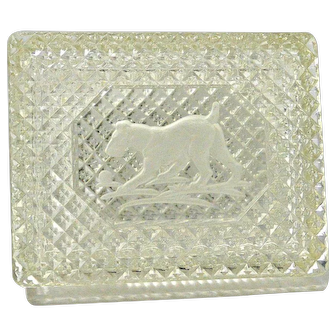 Vintage Cut Glass Cigarette Box with Etched Fox Terrier Dog c. 1950's
