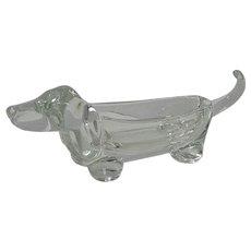 Vannes Le Chatel Lead Crystal Dachshund Dog Candy Dish c.1960's