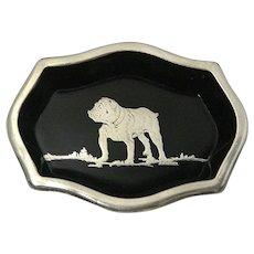 Art Deco Ebony Glass and Sterling Silver Bulldog Trinket Dish
