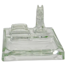 Scottish Terrier Figural Glass Ashtray and Matchbook Holder c.1950's