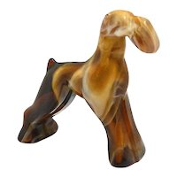 "Imperial Caramel Slag Glass Airedale Dog ""End O Day"""