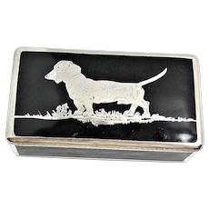 Art Deco Ebony Glass and Sterling Silver Dachshund Dog Box
