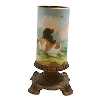Antique Hand Painted Baccarat Vase with Hunting Dogs c.1850