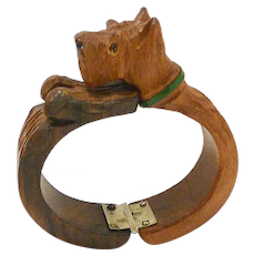 Vintage Wood Hand-Carved Scottie Dog Cuff Bracelet