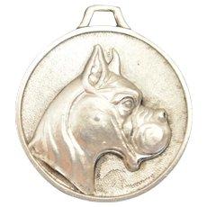 Vintage Pewter Boxer Dog Pendant Medal
