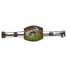 Art Deco Sterling Silver Reverse Painted Hunting Dog Pair Pin