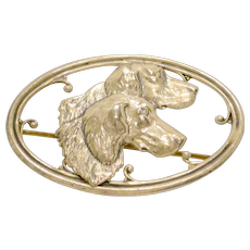 Antique Sterling Silver Repousse Sporting Dogs Brooch