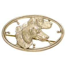 Sterling Silver Repousse Sporting Dogs Brooch