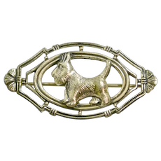 Sterling Silver Repousse Scottish Terrier Dog Pin c.1928