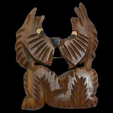 Vintage Carved Wood Scottish Terrier Dog Pair Pin c. 1940's
