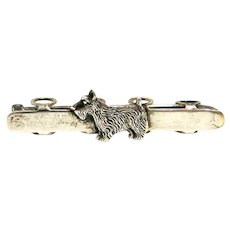 Victorian Sterling Silver Posy Pin with Scottie Dog