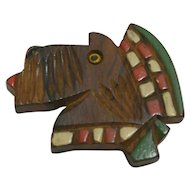 Vintage Hand Carved & Painted Wood Scottish Terrier Pin c. 1940's