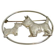Vintage Sterling Silver Kissing Scottie Dogs Brooch
