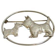 Vintage Sterling Silver Kissing Scottie Dogs Brooch