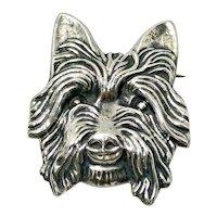 Vintage Sterling Silver Yorkshire Terrier Head Brooch