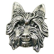 Vintage Sterling Silver Yorkshire Terrier Head Brooch