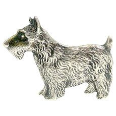 Sterling Silver Scottish Terrier Dog Lapel Pin