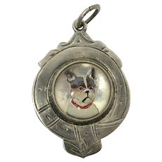 French Bulldog Essex Crystal and Sterling Silver Watch Fob c.1935