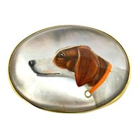 Essex Crystal Hunting Dog Portrait 14K Gold Brooch c. 1915