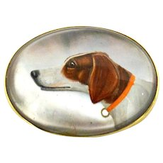 Essex Crystal Hunting Dog Portrait 14K Gold Brooch c. 1915