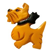 Large Bakelite Scottish Terrier with Bow Pin c. 1930's