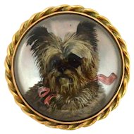Essex Crystal Cairn Terrier Portrait Brooch c.1890