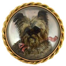 Essex Crystal Cairn Terrier Portrait Brooch c.1890