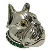 Sterling Silver Boxer Head Brooch/Pendant Emerald Collar