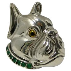 Sterling Silver Boxer Head Brooch/Pendant Emerald Collar