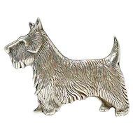 Sterling Silver Scottish Terrier Dog Brooch