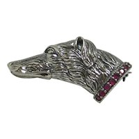 Sterling Silver Borzoi Dog Head Pin