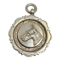 Sterling Silver Scottish Terrier Dog Medal/Fob c.1928