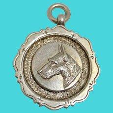 Sterling Silver Scottish Terrier Dog Medal/Fob c.1928