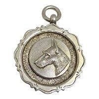 Sterling Silver Scottish Terrier Dog Pendant/fob C.1928