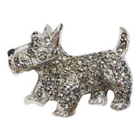 Vintage Marcasite Scottish Terrier Pin Brooch