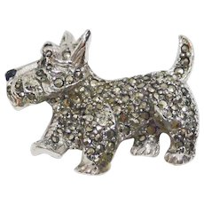 Vintage Marcasite Scottish Terrier Pin Brooch