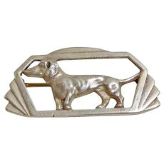 Art Deco Sterling Dachshund Dog Pin