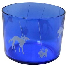 Vintage Cobalt Blue Glass Ice Bowl with Dog Silhouettes