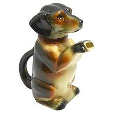 Vintage Majolica Erphila Figural Dachshund Dog Teapot c.1938-1945