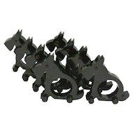 Black Scottie Dog Napkin Rings on Wheels Set of 8