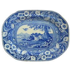 Antique Transferware Platter with Sporting Dog R. Stevenson c. 1810 - 1835
